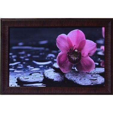 eCraftIndia Beautiful Purple Flower Satin Matt Texture Framed UV Art Print-FPGK712