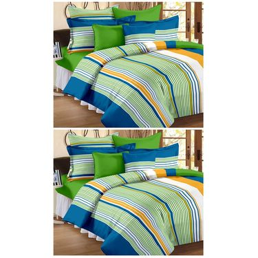 Storyathome 100% Cotton Double Bedsheet & 1 Single Bedsheet With 3 Pillow Cover -FR_1409-HY1405