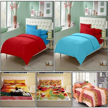Storyathome Combo Of 100% Cotton 2pc Double Bedsheet, 2pc  3D Bed Sheet And 1pc Cotton Single Bed Sheet-FS_1209-1210-PC_1411-1401-FY1220