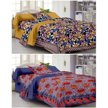 Set of 2 Single Bedsheet with 2 Pillow Cover-1111-1106