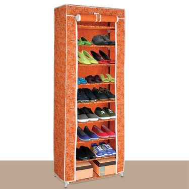 Floral Print 9 Tier Shoe Cabinet