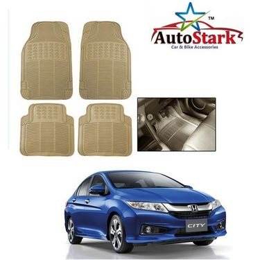 AutoStark - Premium Quality Beige Rubber Car Foot Mat For - Honda City Ivtech