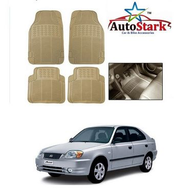 AutoStark - Premium Quality Beige Rubber Car Foot Mat For - Hyundai Accent