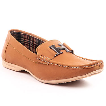 Foot n Style Italian leather Loafers  FS302 - Tan