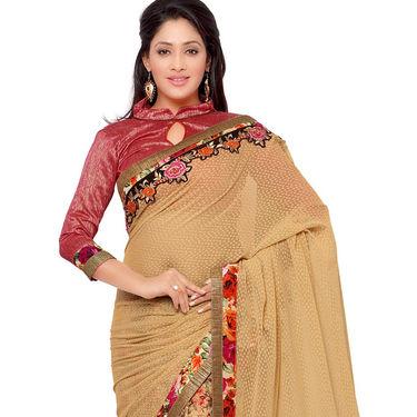 Indian Women Georgette Jacquard Printed Saree -GA20106