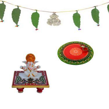 Diwali Special Combo of Pooja Thali, Toran and Ganesh Chowki-GIFTHAM122