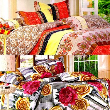 Valtellina Multicolor Design Print 2 Double bedsheet & 4 Pillow covers-GLO-19-20