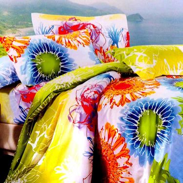 Valtellina Multicolor Design Print 2 Double bedsheet & 4 Pillow covers-GLO-21-22