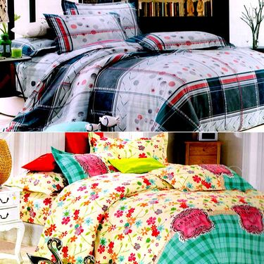 Valtellina Multicolor Design Print 2 Double bedsheet & 4 Pillow covers-GLO-27-28