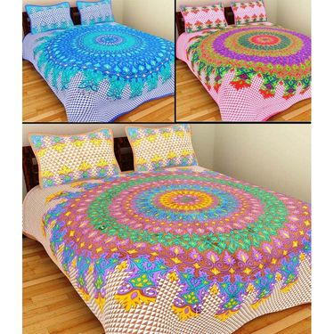 GRJ India Pure Cotton Multi Colour 3 Double BedSheet With 6 Pillow Covers-GRJ-3DB-72BL-72PK-72BR