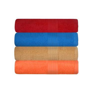 GRJ INDIA Cotton Maroon Blue bath Towels  (Set Of 4)-GRJ-4BTWL-49