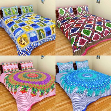 GRJ India Pure Cotton Multi Colour 4 Double BedSheet With 8 Pillow Covers-GRJ-4DB-71BL-73RD-72PK-72BL