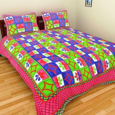 GRJ India Pure Cotton Multi Colour 6 Double BedSheet With 12 Pillow Covers-GRJ-6DB-69OG-68OL-67PK-70PK-71PK-73GRN