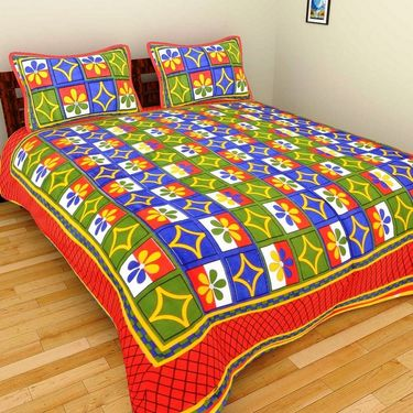 GRJ India Pure Cotton Multi Colour 8 Double BedSheet With 16 Pillow Covers-GRJ-8DB-69BL-68PL-70BL-67RD-71BL-73RD-72BL-68PK