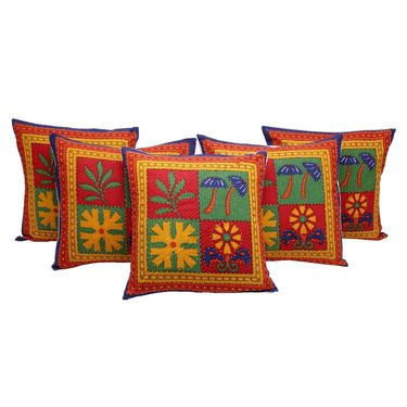 GRJ India  Kantha Work Traditional Dishing Doll  Print Cushion Cover Set-5 pcs-GRJ-CC-5P-34