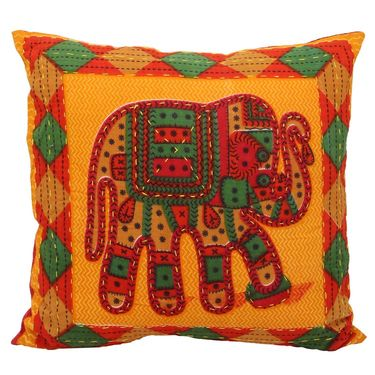 GRJ India Traditional Kantha Work  Elephant Print Cushion Cover Set-5 pcs-GRJ-CC-5P-41
