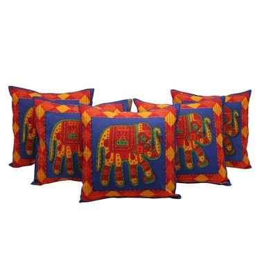 GRJ India Traditional Kantha Work  Elephant Print Cushion Cover Set-5 pcs-GRJ-CC-5P-42