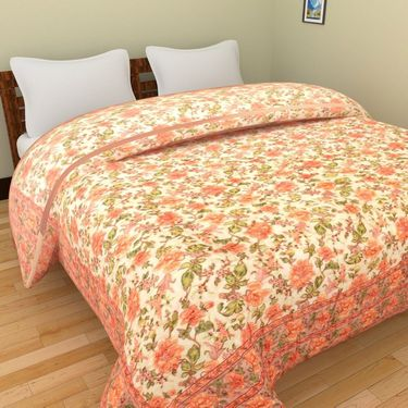 GRJ India Designer Printed Double Bed Quilt-GRJ-DQ-137