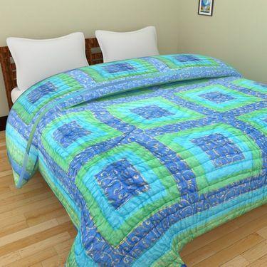 GRJ India Designer Printed Single Bed Quilt-GRJ-SQ-153
