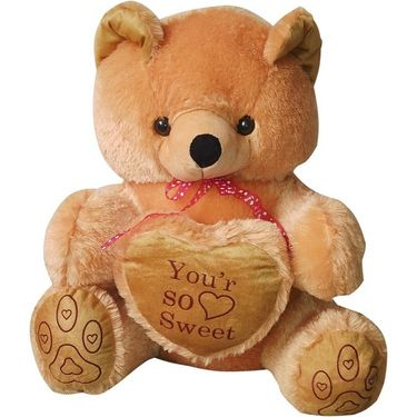 Valentine Combo of 2 Feet Teddy & Soft Toy Heart - Brown