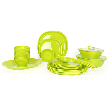 Gluman 32Pcs Microwave Safe Square Dinner Set - Green