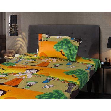 Chota Bheem Kids Single Bedsheet with 1 Pillow Cover-HFSBD104