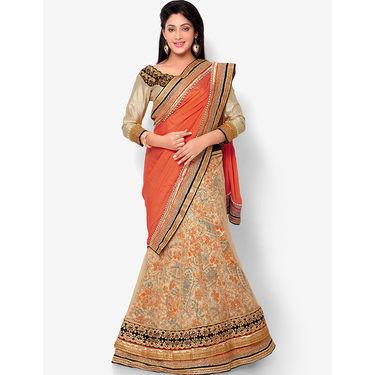 Indian Women Satin Chiffon Printed Saree -HT71011