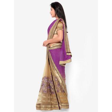 Indian Women Satin Chiffon Printed Saree -HT71013