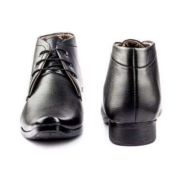 Faux Leather Black Formal Shoes -bn38