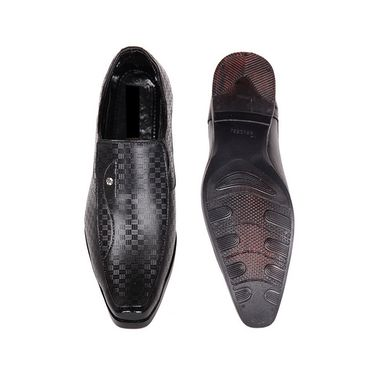 Faux Leather Black Formal Shoes -bn44