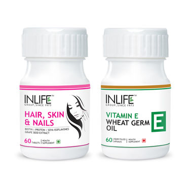 Anti Hair Loss Combo - 60tabs Hair, Skin & Nails + 60caps Vitamin E, Wheat Germ Oil