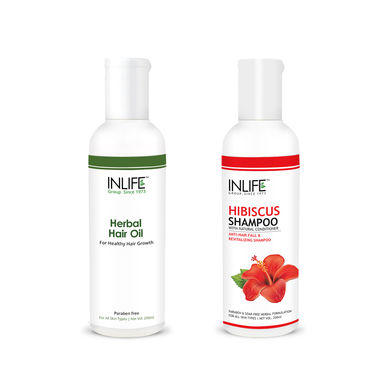 Hair Care Combo Of Natural Hibiscus Shampoo & Herbal Hair Oil