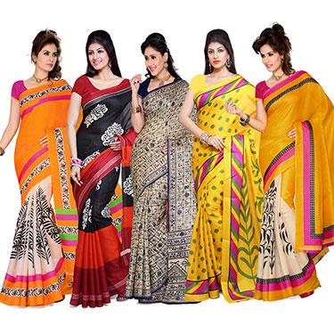 Set of 5 Ishin Bhagalpuri Silk Printed Saree-Combo-32