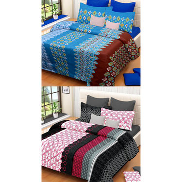 Set of 2 IWS Cotton Printed Double Bedsheet with 4 Pillow Covers-CB1320