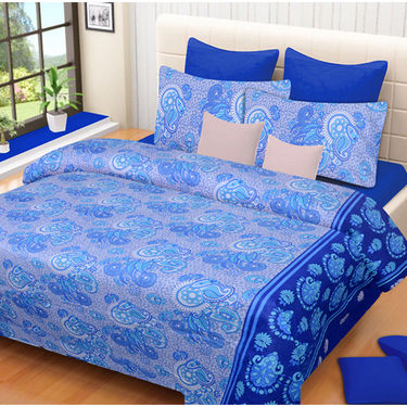 Set of 2 IWS Cotton Printed Double Bedsheet with 4 Pillow Covers-CB1336