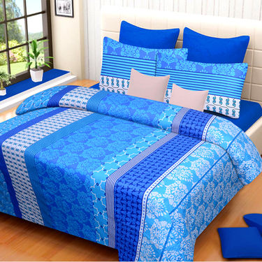 Set of 2 IWS Cotton Printed Double Bedsheet with 4 Pillow Covers-CB1353