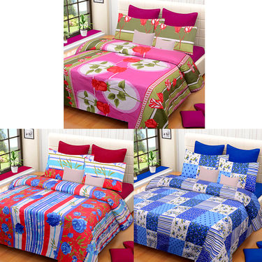 Set of 3 IWS Cotton Printed Double Bedsheet with 6 Pillow Covers-CB1374