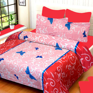 Set of 3 IWS Cotton Printed Double Bedsheet with 6 Pillow Covers-CB1384