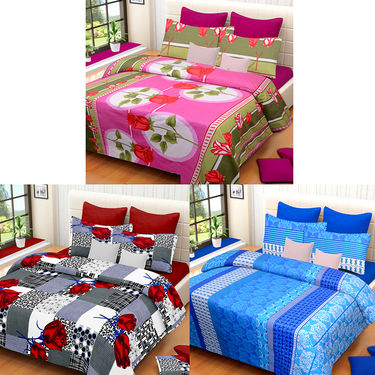 Set of 3 IWS Cotton Printed Double Bedsheet with 6 Pillow Covers-CB1399