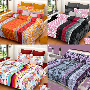 Set of 4 IWS Cotton Printed Double Bedsheet with 8 Pillow Covers-CB1446