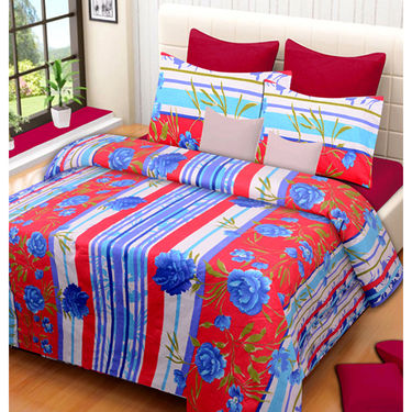 Set of 4 IWS Cotton Printed Double Bedsheet with 8 Pillow Covers-CB1449