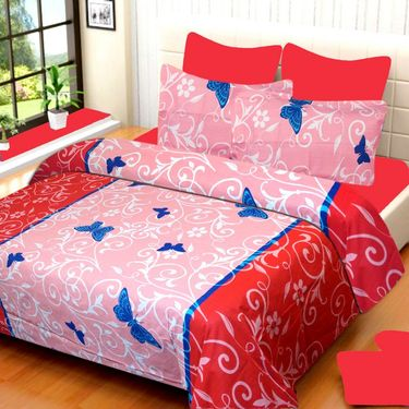 IWS Cotton Printed Double Bedsheet with 2 Pillow Covers-IWS-CB-622