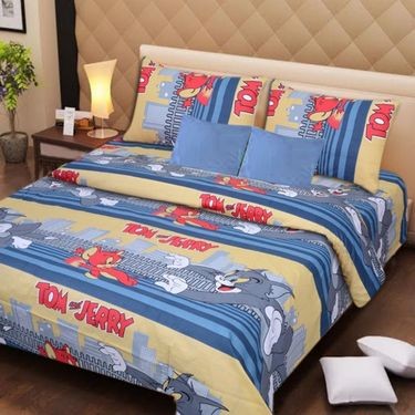 IWS Set of 2 Designer Cotton kids Double Bedsheet with 4 Pillow cover IWS-CCB-29