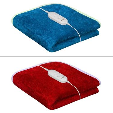 Set of 2 Warmland Electric Single Bed Blanket-Turquoise & Red-IWS-EB-10_01