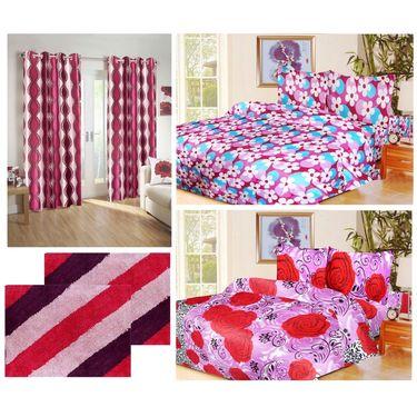 10 Piece Home Decor Combo (IWS 2 Bedsheet with 4 Pillow Covers + 2 Door Curtains + 2 Mats) -IWS-JC-08