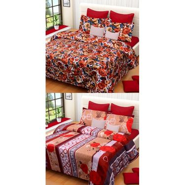 Set of 2 Printed  Double Bedhseets With 4 Pillow Covers-IWS-NPrinted-20