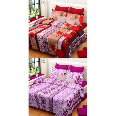 Set of 2 Printed  Double Bedhseets With 4 Pillow Covers-IWS-NPrinted-28