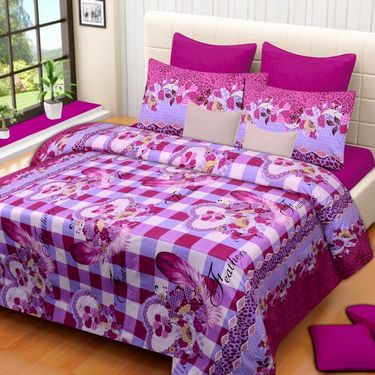 Set of 3 Printed  Double Bedhseets With 6 Pillow Covers-IWS-NPrinted-32