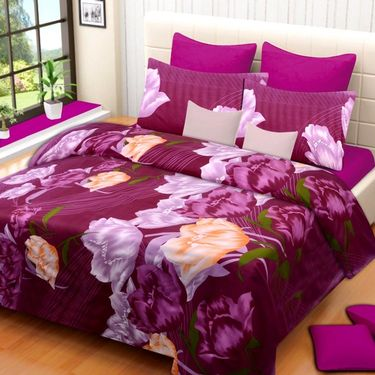 Set of 3 Printed  Double Bedhseets With 6 Pillow Covers-IWS-NPrinted-37