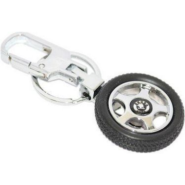 AutoSun Skoda Spinning Tyre Rotary Wheel Locking Metal Keychain / Keyring / Key Ring / Key Chain